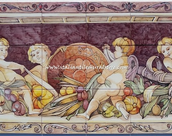 Hand painted artistic wall panel on ceramic tiles vintage. Made in Italy