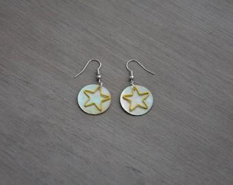 Earrings Pearl yellow stars