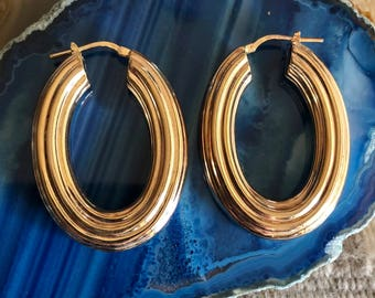 "Italy 14k Yellow Gold Plated Sterling Silver 1 3/4"" Hoop Earrings, Gold Earrings, Hoop Earrings, Sterling Hoop Earrings, Gold Hoop Earrings"