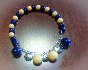 Gold and Blue Charm Bracelet