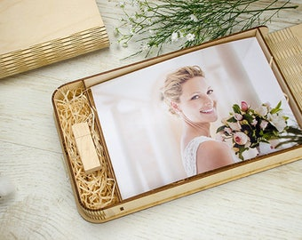 5x7 presentation box for 5x7 photo packaging with compartment for USB drive | 18x13 cm photo wedding box