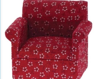 Dollhouse Miniature Red Arm Chair 1:12 Scale