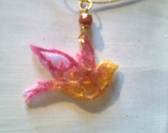 Pink Dove pendant and gold glitter fluorescent