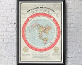 Flat Earth Map - Gleason's New Standard Map of the World 1892 - A0, A1 or A2 on 200gsm Silk Poster Paper