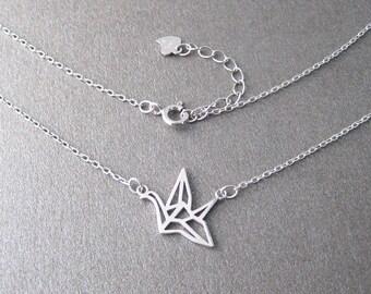 Origami 925/1000 silver bird necklace