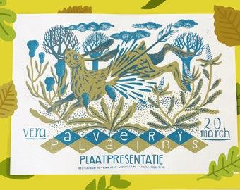 Avery Plains Screenprinted / Silkscreened 3 Colour Gigposter For Vera Groningen Artprint Handpulled Print