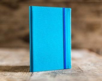 Daily planner 2018, 2018 A5 Daily planner Turquoise Epi leather, the perfect Christmas gift. Agenda 2018, diary in leather. Made in Italy.