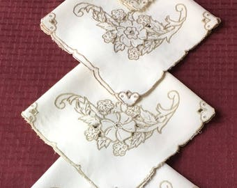 Set of 4 Matching Vintage Linen  Ecru Doilies with Cutwork and Embroidery