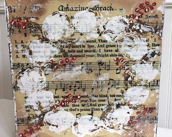 Amazing Grace Cotton Boll Wreath Painting, cotton wreath painting, cotton boll art, hymnal art