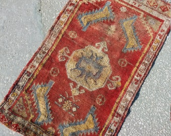 Oushak Small Rug,Oushak Old Small Rug,Vintage Turkish Small Rug, Oushak Rug,Pastel Colors small rug, Home living, Area rug,Floor  Rug,