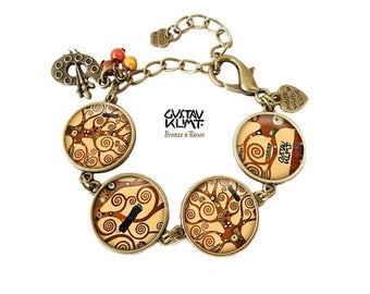 Bracelet tree of life ° ° spirals cabochon bronze Gustav klimt reproduction