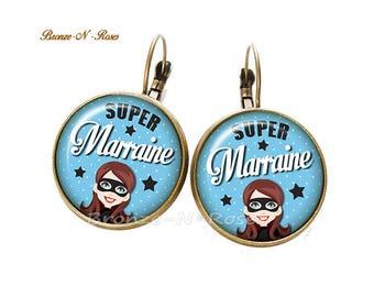 Boucles d'oreilles ° Super marraine ° bronze cabochon cadeau verre bleu dormeuses