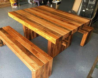Multi Color 4x4 Floor Top Table And Bench Set