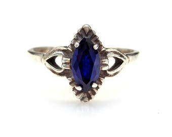Sterling Silver Marquise Sapphire Engagement Ring