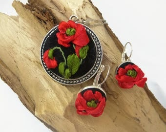 Jewelry embroidered pendant Small earrings Red poppy jewelry set Red black fabric flower necklace earrings Red fabric homemade necklace