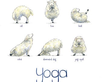 "Yoga Sheep - 9""x9"" Decorative Watercolor Print"