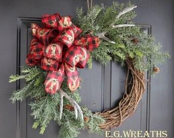 Antler Christmas Wreath - Rustic Christmas Wreath - Country Christmas Wreath - Antler Wreath - Christmas Wreath