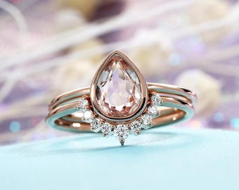 Morganite Engagement Ring Vintage Rose Gold Diamond Wedding ring set Women Bridal Jewelry Pear Shaped Cut Stacking Alternative Anniversary