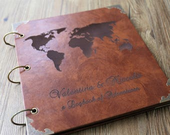 12x12 inches Leather Travel Photo Album /Our Adventure Book/personalized Wedding Guest Book/weddinng photo album