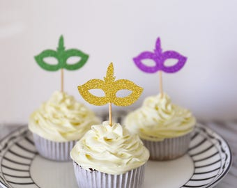 Mardi Gras Mask Cupcake Toppers / Masquerade Party/Birthday Party/Costume/Bachelorette Party