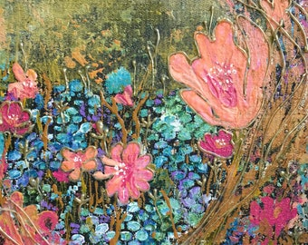 Original acrylic floral painting on canvas 3D effect