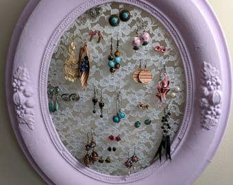 Picture frame and lace earring holder