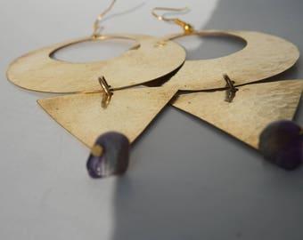 Brass chandelier earring