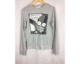 THE SIMPSONS Long Sleeve Small Size Full Print Used Clothing by H&M
