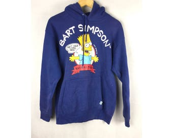 DISCUSS ATHLETIC The Simpsons Cartoon Hoodies by Bart Simpson Long Sleeve Hoodies Medium Size Hoodies With Big Cartoon Image Made In USA