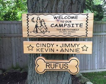 3 Piece Personalized Custom Made Carved Family Last Name Pet Cedar Wood Rustic Camping Sign / Plaque Camping Signs Custom Outdoor Name Signs