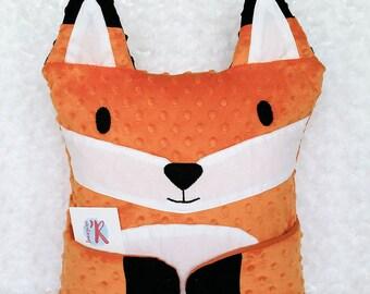 Fox pillow, red fox pillow, minky cushion, Hug-Me pillow, orange, white, black