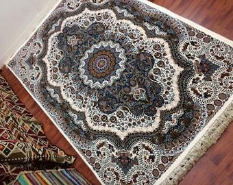 Indigo Floral Medallion Kashan Rug, Persian Rug, Oriental Carpet, Heriz, Tabriz, Floor Covering