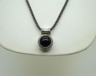 Vintage 925 Necklace, Vintage Pendant and Chain, Black Onyx Pendant, Valentines Gift, Vintage 925 Silver Necklace