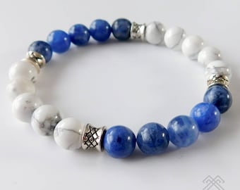 Sodalite bracelet - Howlite bracelet - Mens bracelet - Beaded bracelet - Sodalite beads - Howlite beads