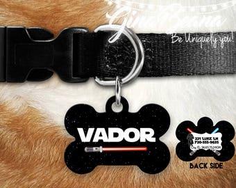 Personlized Pet ID Tag Bone Pet Tag-Vador Wars Dog Tag Dog Name Tag