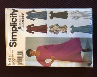 Simplicity 5767 Princess Style Dress w/Variations Plus Size 26W 28W 30W 32W