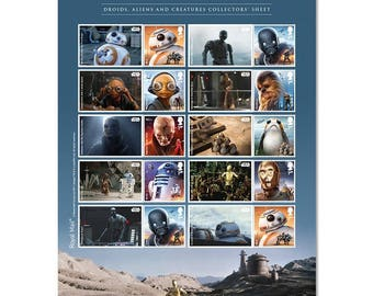 STAR WARS™ Droids, Aliens, and Creatures Sheet! Just Issued by the UK - Royal Mail - This is a United Kingdom Postage Stamp Sheet
