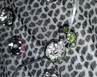 8x4mm silver rhinestone spacer beads