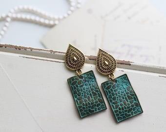 Green  Earrings , Patina Earrings,  Boho Earrings ,Antique  Brass earrings, Dangle Earrings, Boho Jewellery, Birthday Gift