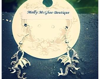 Beautiful Double Sided Tibetan Silver Dragon Earrings. 925 Silver Hooks.