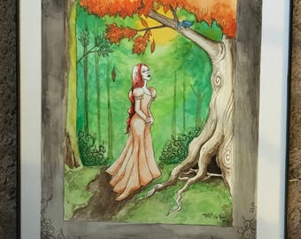 Watercolor forest elf