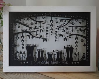 NEW personalised family portrait wellies framed papercut