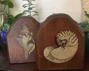 SHELL BOOKENDS wood set of 2 nautalis conch sea ocean vintage retro beach theme animal fossils brown taupe drawing sketch nature rustic