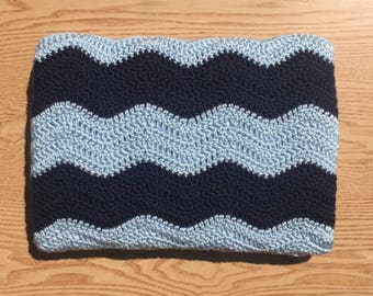 Ready To Ship Navy Blue Crochet Baby Blanket/ Dark Blue and Light Blue Chevron Baby Blanket/ Ripple Baby Blanket/ Boy Baby Blanket