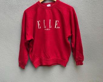 Vintage 90s ELLE paris france spellout sweatshirts crewneck