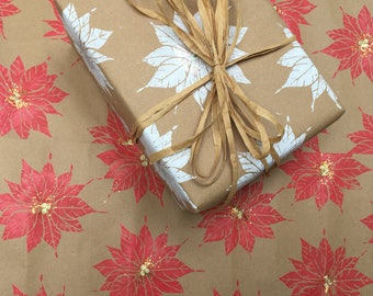 Handmade red poinsettia Christmas wrapping paper single sheets