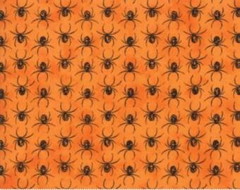 Halloween fabric by the yard- Moda- Eerily Elegant- Deb Strain-19816 14 Vintage pumpkin- orange with balck spiders- spiders- orange
