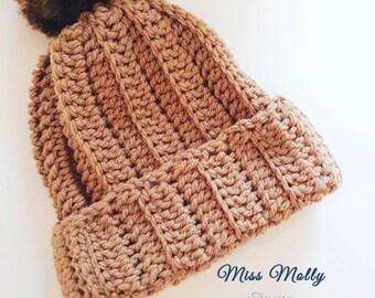 Chunky winter hat faux fur pom pom beanie touque