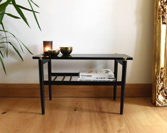 Luxe Up-cycled Midcentury Modern Black and Gold Coffee Table with Magazine rack/Book Shelf