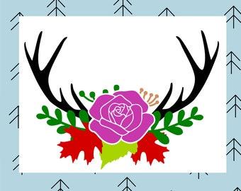 Antler floral swag svg Deer svg Deer antler svg Deer antlers svg Floral svg Flower svg Rose svg files for Cricut Silhouette cut file